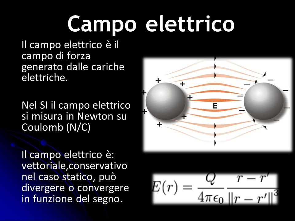 Il campo elettrico è il campo di forza generato dalle cariche elettriche. Nel SI il campo elettrico si misura in Newton su Coulomb (N/C) Il campo elet