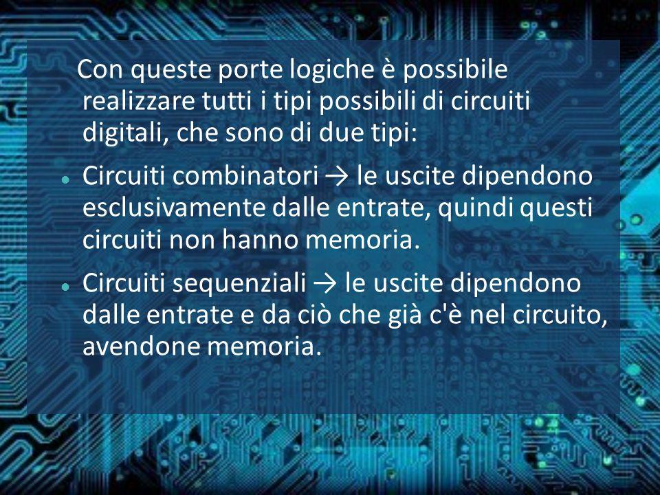 Con queste porte logiche è possibile realizzare tutti i tipi possibili di circuiti digitali, che sono di due tipi: Circuiti combinatori le uscite dipe