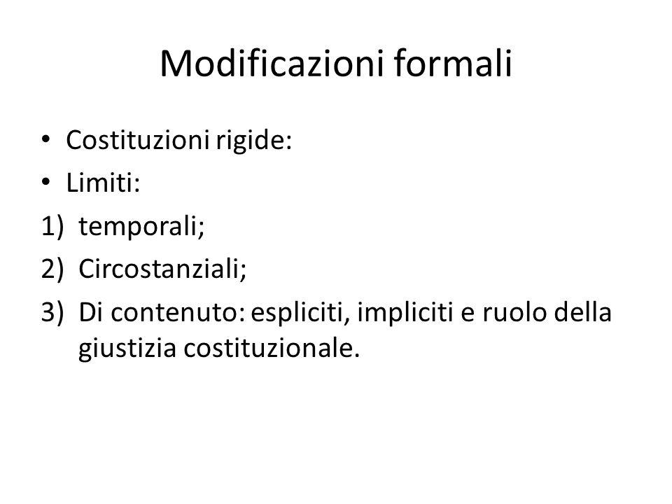 Modificazioni formali Costituzioni rigide: Limiti: 1)temporali; 2)Circostanziali; 3)Di contenuto: espliciti, impliciti e ruolo della giustizia costitu