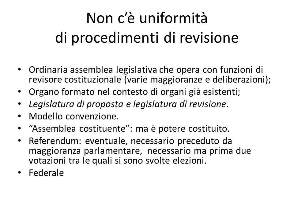 Non cè uniformità di procedimenti di revisione Ordinaria assemblea legislativa che opera con funzioni di revisore costituzionale (varie maggioranze e