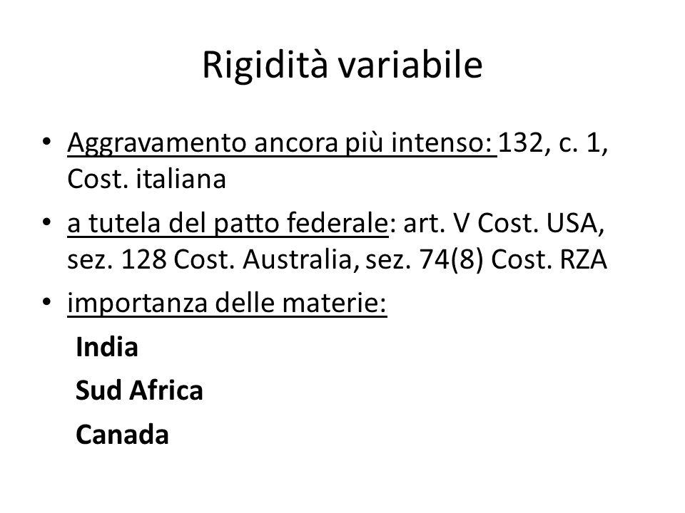 Rigidità variabile Aggravamento ancora più intenso: 132, c. 1, Cost. italiana a tutela del patto federale: art. V Cost. USA, sez. 128 Cost. Australia,