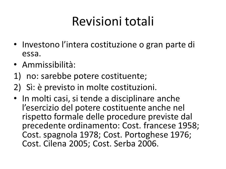 Revisioni totali Investono lintera costituzione o gran parte di essa. Ammissibilità: 1)no: sarebbe potere costituente; 2)Sì: è previsto in molte costi