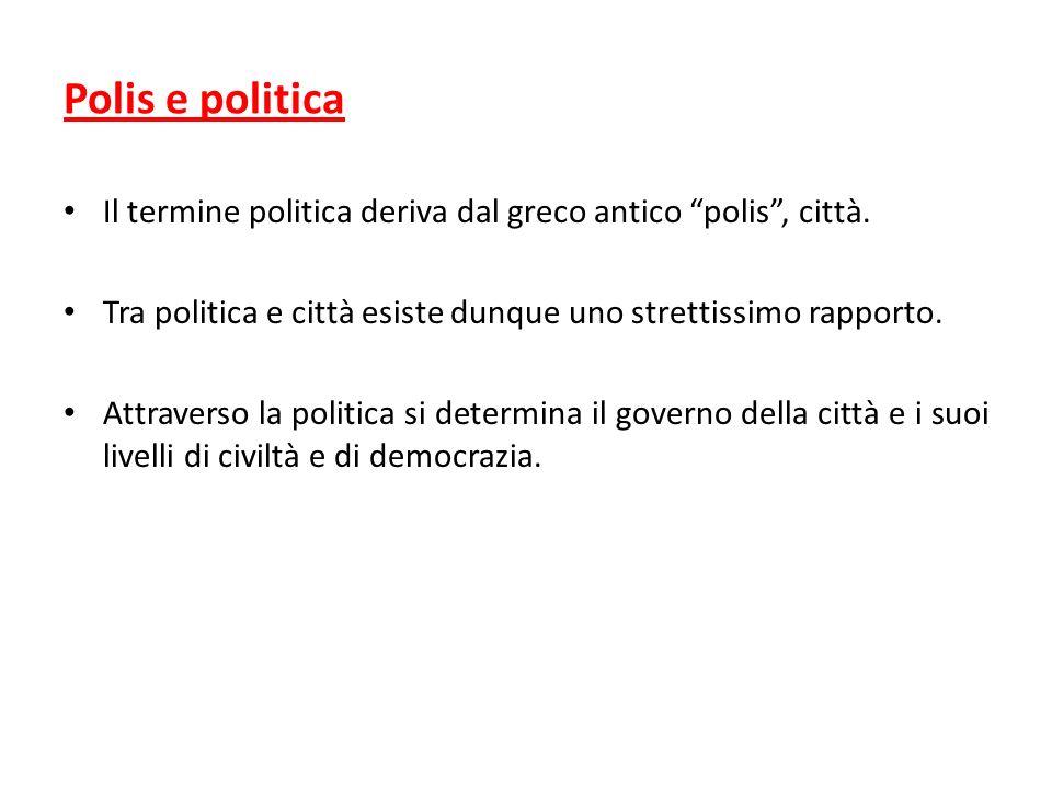Polis e politica Il termine politica deriva dal greco antico polis, città. Tra politica e città esiste dunque uno strettissimo rapporto. Attraverso la