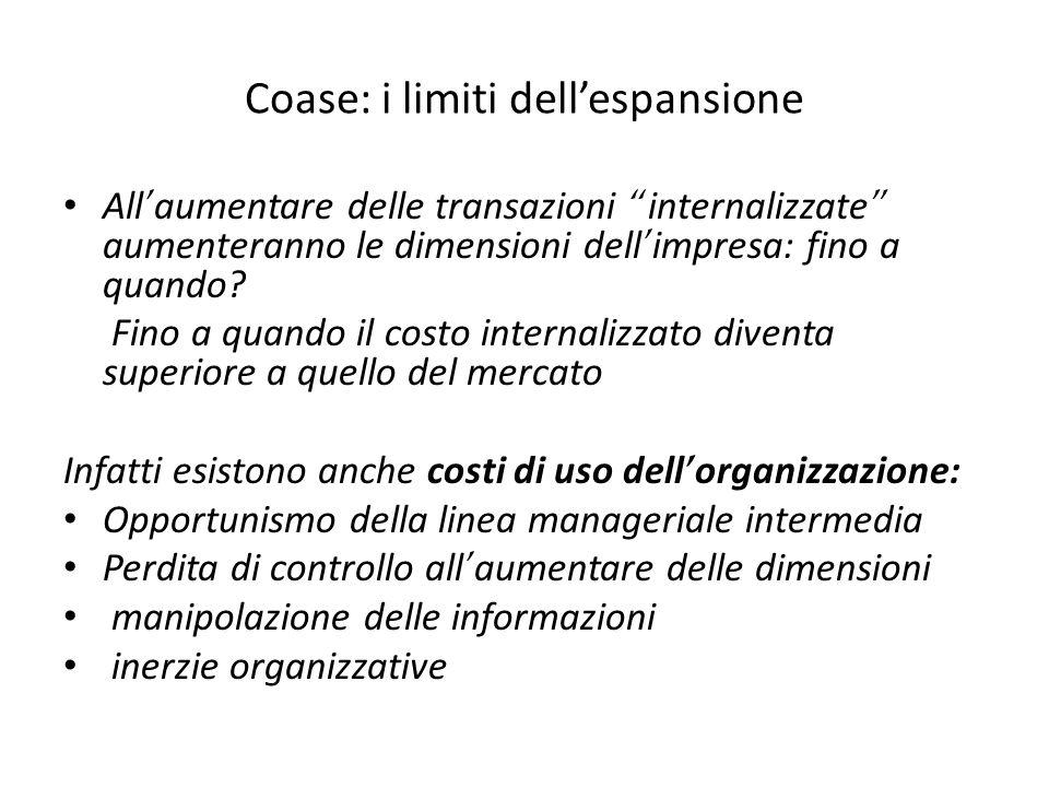 Coase: i limiti dellespansione All aumentare delle transazioni internalizzate aumenteranno le dimensioni dell impresa: fino a quando.
