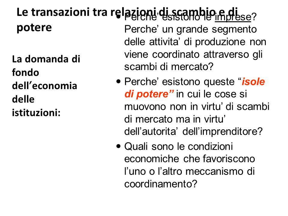 L approccio dei costi transazionali Le origini risalgono a Coase (1937), ma lo sviluppo si deve a Oliver Williamson (1986) Approccio economico centrato sulla transazione: scambi di energia, informazioni, oggetti, ecc.