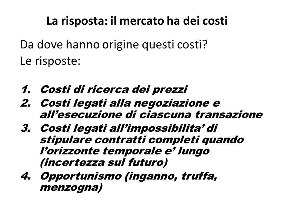 La risposta: il mercato ha dei costi Da dove hanno origine questi costi.