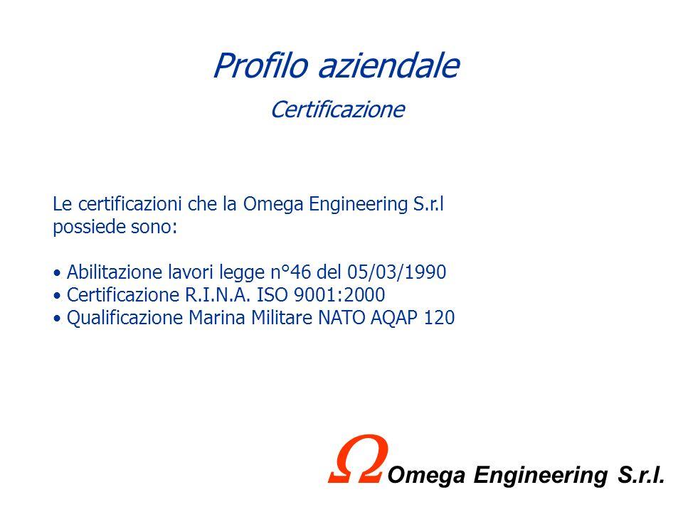 Profilo aziendale Le certificazioni che la Omega Engineering S.r.l possiede sono: Abilitazione lavori legge n°46 del 05/03/1990 Certificazione R.I.N.A.