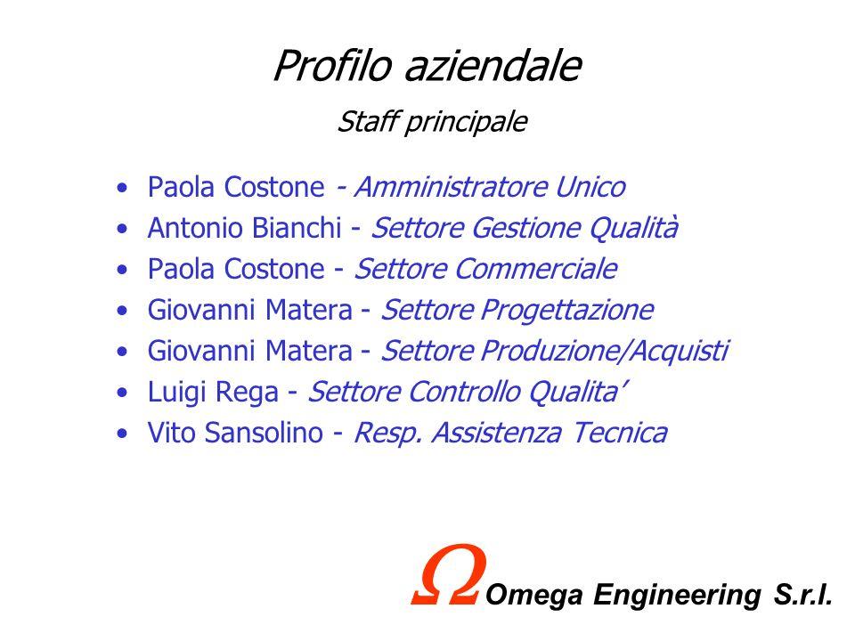 Profilo aziendale Le certificazioni che la Omega Engineering S.r.l possiede sono: Abilitazione lavori legge n°46 del 05/03/1990 Certificazione R.I.N.A