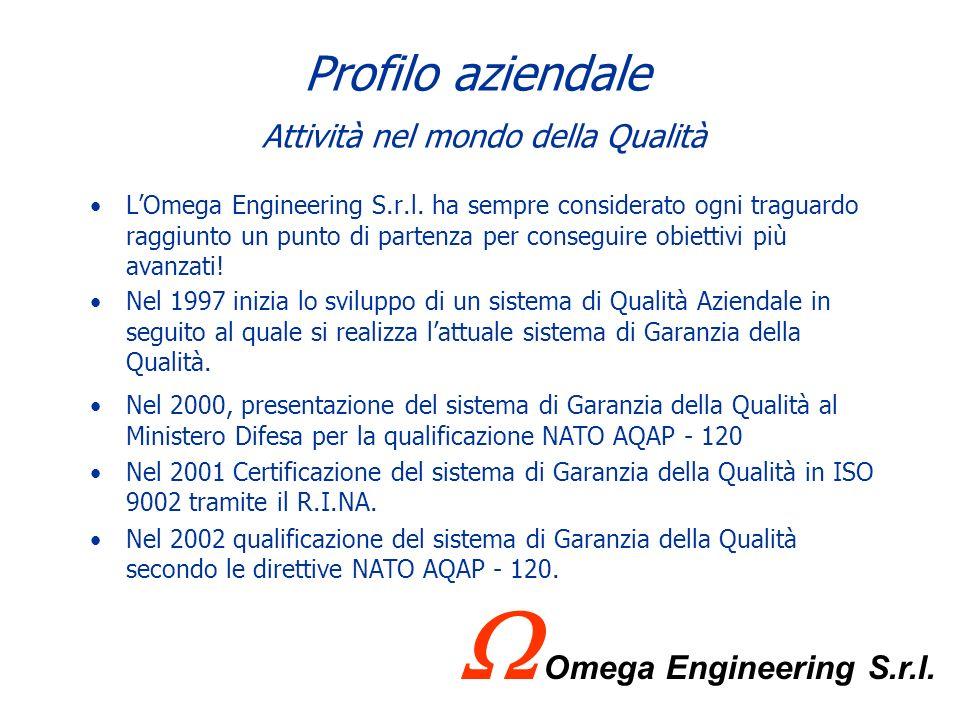 Profilo aziendale Presenza sul territorio Vista la primaria importanza del cliente Marina Militare, Omega Engineering S.r.l. è presente in ciascuna se