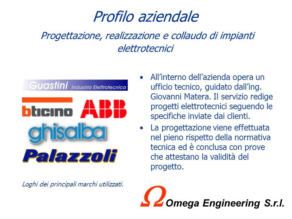 Profilo aziendale Principali attività Progettazione, realizzazione e collaudo di impianti elettrotecnici; Quadri elettrotecnici ed elettronici; Impian