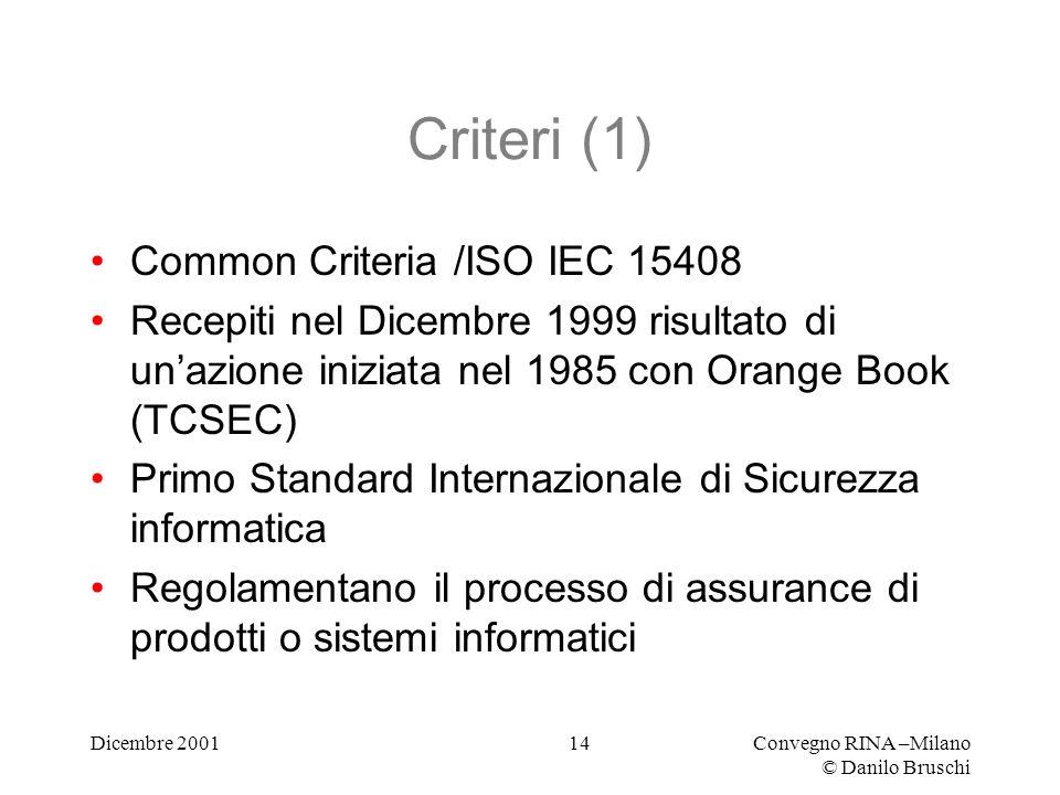 Dicembre 2001Convegno RINA –Milano © Danilo Bruschi 14 Criteri (1) Common Criteria /ISO IEC 15408 Recepiti nel Dicembre 1999 risultato di unazione iniziata nel 1985 con Orange Book (TCSEC) Primo Standard Internazionale di Sicurezza informatica Regolamentano il processo di assurance di prodotti o sistemi informatici