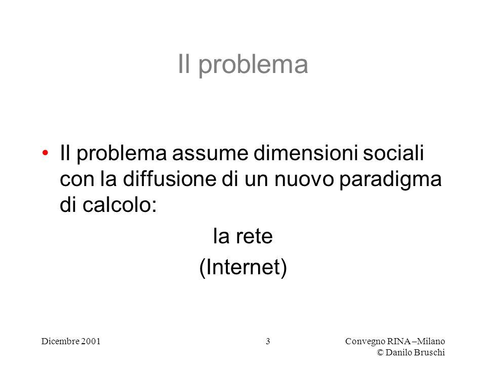 Dicembre 2001Convegno RINA –Milano © Danilo Bruschi 3 Il problema Il problema assume dimensioni sociali con la diffusione di un nuovo paradigma di calcolo: la rete (Internet)