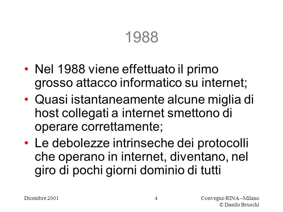 Dicembre 2001Convegno RINA –Milano © Danilo Bruschi 4 1988 Nel 1988 viene effettuato il primo grosso attacco informatico su internet; Quasi istantaneamente alcune miglia di host collegati a internet smettono di operare correttamente; Le debolezze intrinseche dei protocolli che operano in internet, diventano, nel giro di pochi giorni dominio di tutti