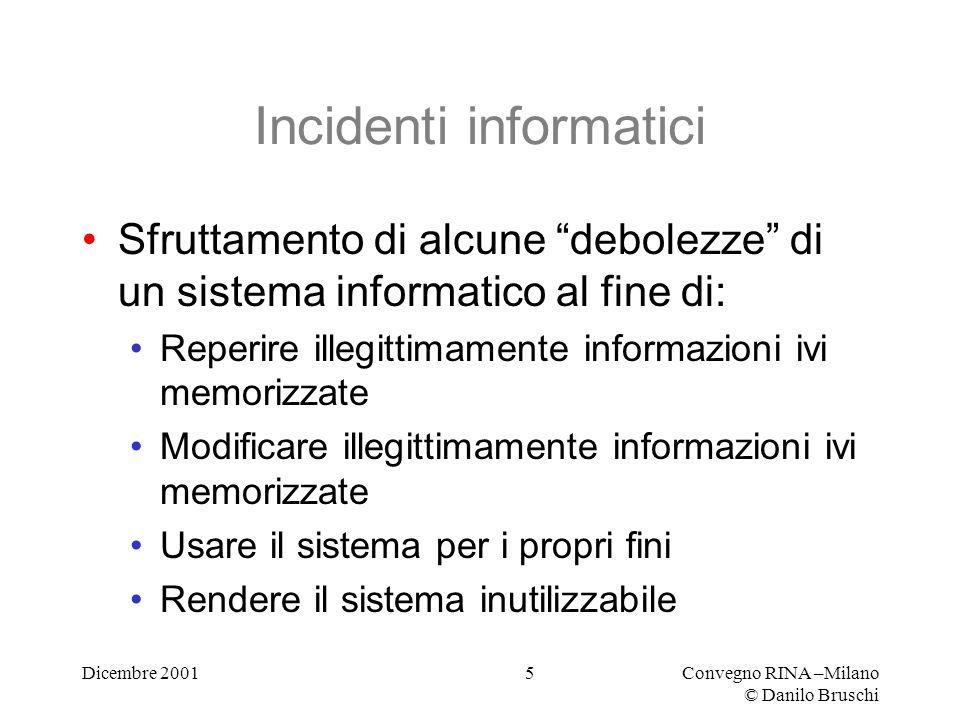 Dicembre 2001Convegno RINA –Milano © Danilo Bruschi 16 Leggi (1) Legge sulla privacy L.