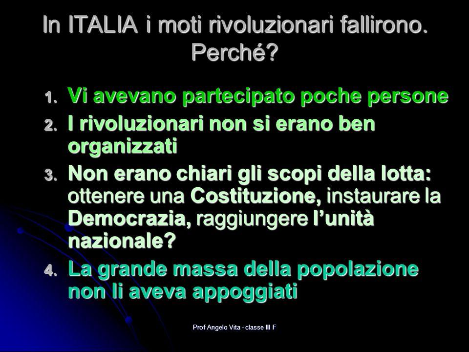 Prof Angelo Vita - classe III F La riflessione su questo fallimento diede avvio al DIBATTITO RISORGIMENTALE, cioè al dibattito sul modo di ottenere lunità dItalia.