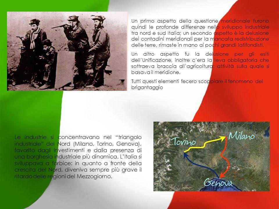Un primo aspetto della questione meridionale furono quindi le profonde differenze nello sviluppo industriale tra nord e sud Italia; un secondo aspetto è la delusione dei contadini meridionali per la mancata redistribuzione delle terre, rimaste in mano ai pochi grandi latifondisti.