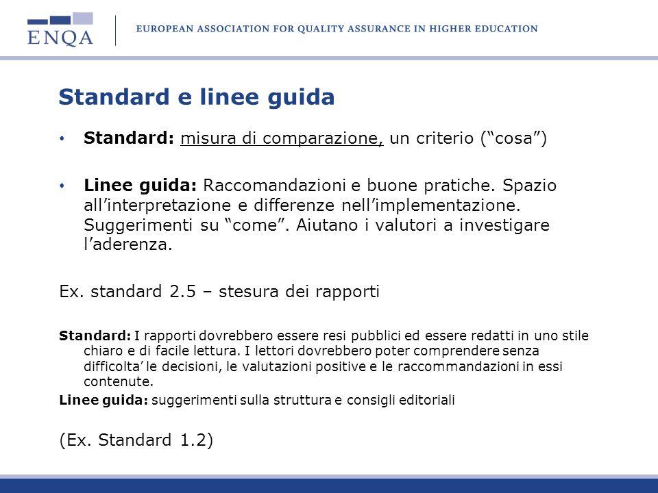 Standard e linee guida Standard: misura di comparazione, un criterio (cosa) Linee guida: Raccomandazioni e buone pratiche. Spazio allinterpretazione e