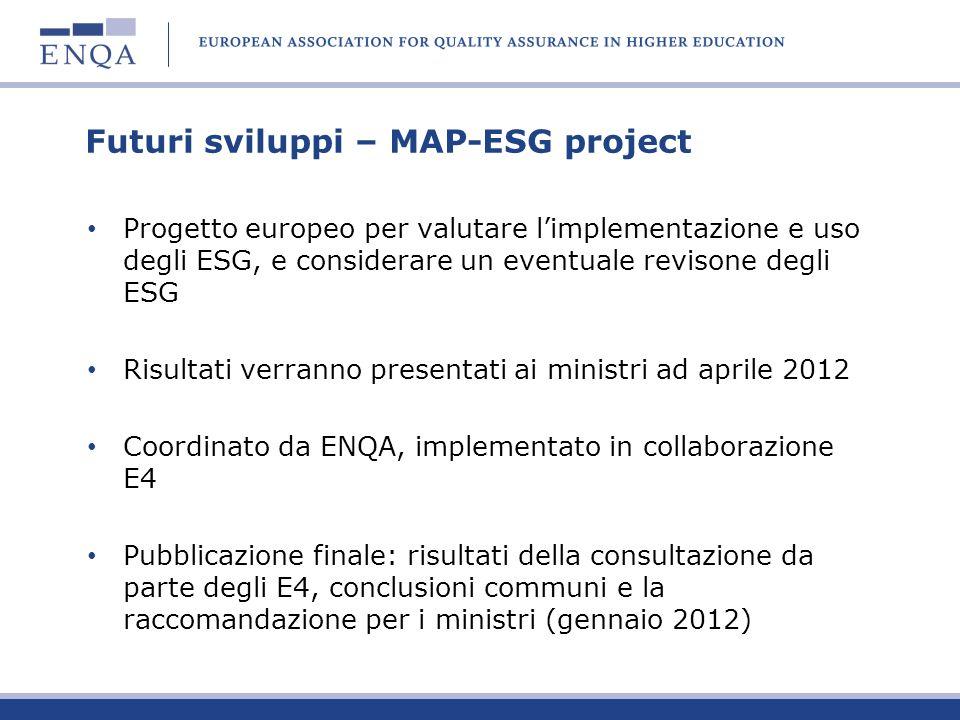 Futuri sviluppi – MAP-ESG project Progetto europeo per valutare limplementazione e uso degli ESG, e considerare un eventuale revisone degli ESG Risult