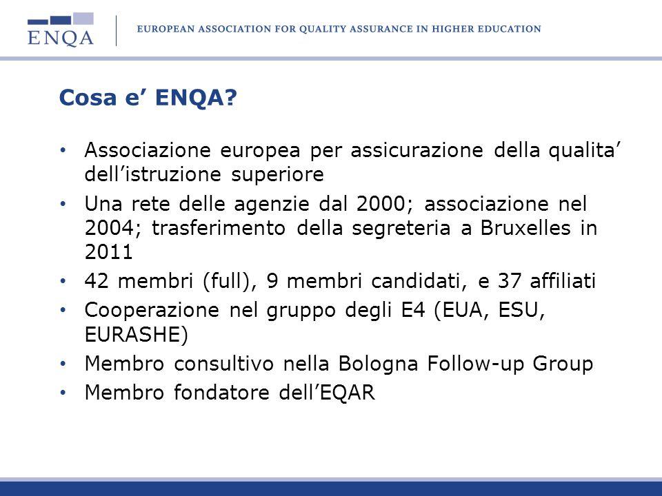 Cosa e ENQA? Associazione europea per assicurazione della qualita dellistruzione superiore Una rete delle agenzie dal 2000; associazione nel 2004; tra