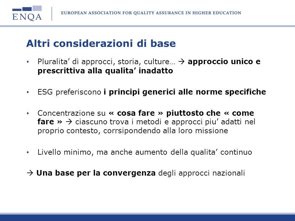 Altri considerazioni di base Pluralita di approcci, storia, culture… approccio unico e prescrittiva alla qualita inadatto ESG preferiscono i principi