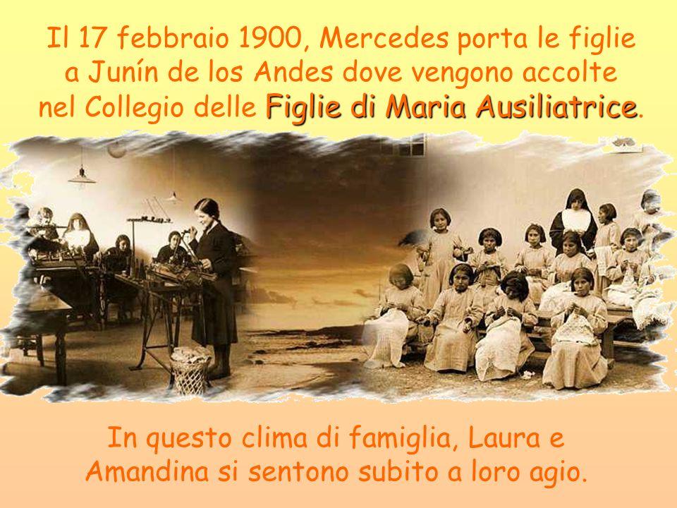 Figlie di Maria Ausiliatrice Il 17 febbraio 1900, Mercedes porta le figlie a Junín de los Andes dove vengono accolte nel Collegio delle Figlie di Mari
