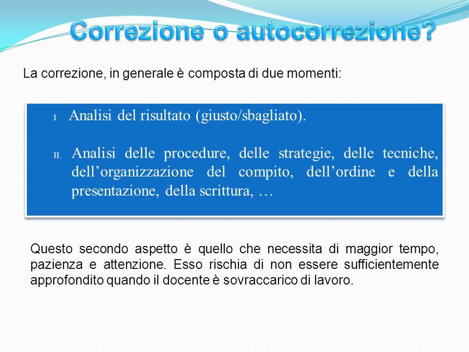 La correzione, in generale è composta di due momenti: I.Analisi del risultato (giusto/sbagliato).