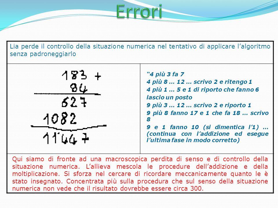 Lia perde il controllo della situazione numerica nel tentativo di applicare lalgoritmo senza padroneggiarlo 4 più 3 fa 7 4 più 8 … 12 … scrivo 2 e ritengo 1 4 più 1 … 5 e 1 di riporto che fanno 6 lascio un posto 9 più 3 … 12 … scrivo 2 e riporto 1 9 più 8 fanno 17 e 1 che fa 18 … scrivo 8 9 e 1 fanno 10 (si dimentica l1) … (continua con laddizione ed esegue lultima fase in modo corretto) Qui siamo di fronte ad una macroscopica perdita di senso e di controllo della situazione numerica.