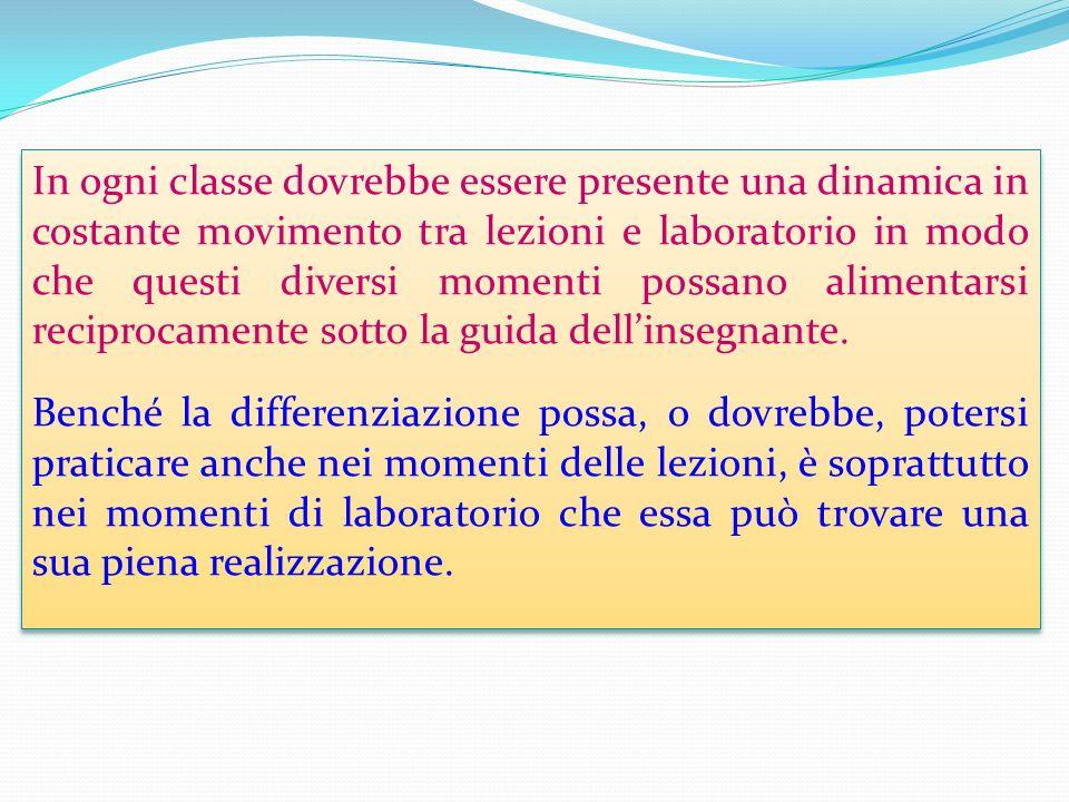 In ogni classe dovrebbe essere presente una dinamica in costante movimento tra lezioni e laboratorio in modo che questi diversi momenti possano alimentarsi reciprocamente sotto la guida dellinsegnante.