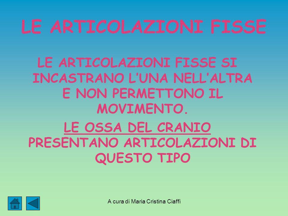 A cura di Maria Cristina Ciaffi LE ARTICOLAZIONI FISSE LE ARTICOLAZIONI FISSE SI INCASTRANO LUNA NELLALTRA E NON PERMETTONO IL MOVIMENTO.
