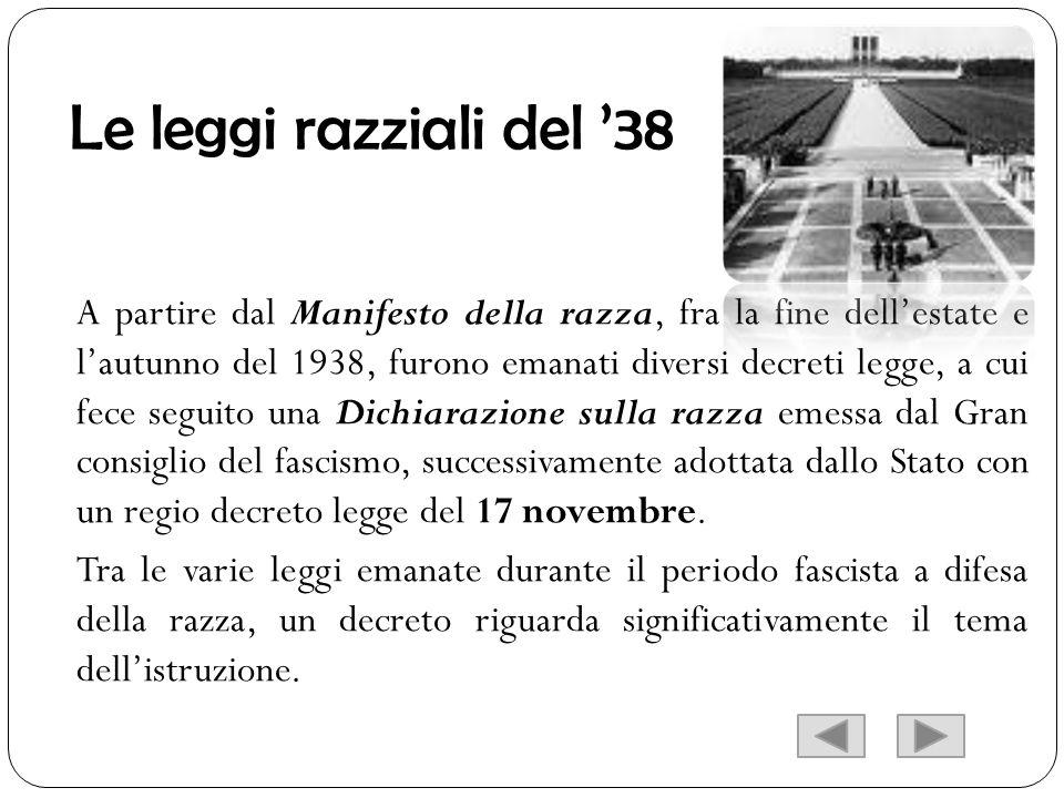 Le leggi razziali del 38 A partire dal Manifesto della razza, fra la fine dellestate e lautunno del 1938, furono emanati diversi decreti legge, a cui