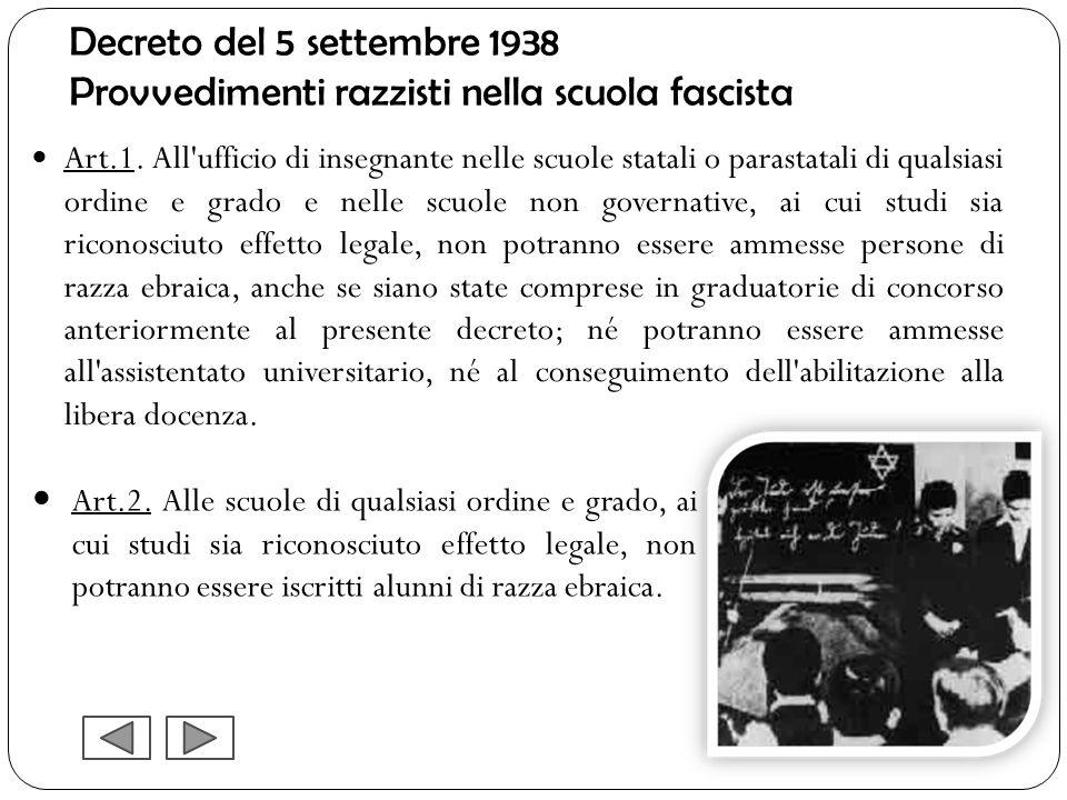 Decreto del 5 settembre 1938 Provvedimenti razzisti nella scuola fascista Art.1. All'ufficio di insegnante nelle scuole statali o parastatali di quals