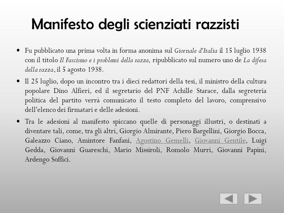 Manifesto degli scienziati razzisti Fu pubblicato una prima volta in forma anonima sul Giornale d'Italia il 15 luglio 1938 con il titolo Il Fascismo e