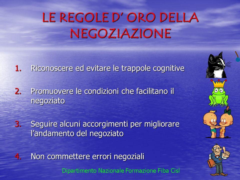 LE REGOLE D ORO DELLA NEGOZIAZIONE 1.Riconoscere ed evitare le trappole cognitive 2.Promuovere le condizioni che facilitano il negoziato 3.Seguire alc
