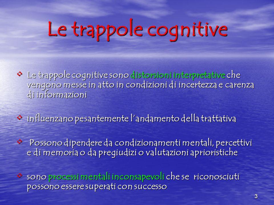 3 Le trappole cognitive sono distorsioni interpretative che vengono messe in atto in condizioni di incertezza e carenza di informazioni Le trappole co