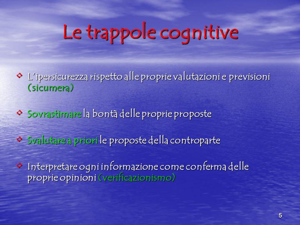 5 Le trappole cognitive Lipersicurezza rispetto alle proprie valutazioni e previsioni (sicumera) Lipersicurezza rispetto alle proprie valutazioni e pr
