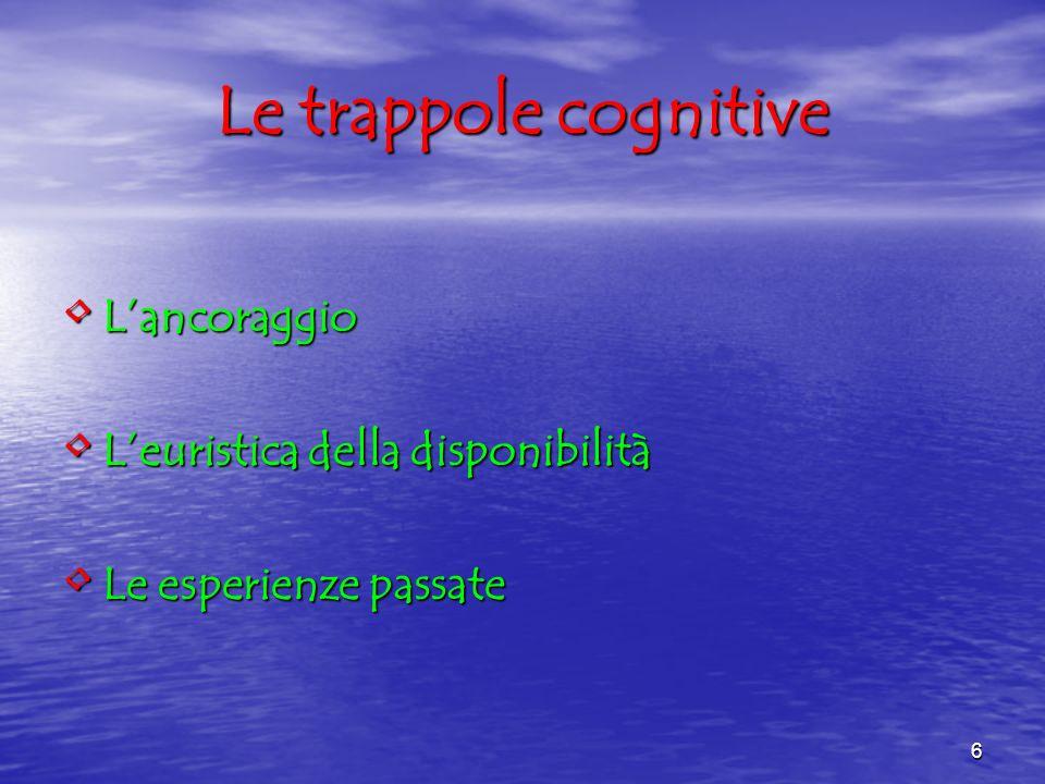 6 Le trappole cognitive Lancoraggio Lancoraggio Leuristica della disponibilità Leuristica della disponibilità Le esperienze passate Le esperienze pass