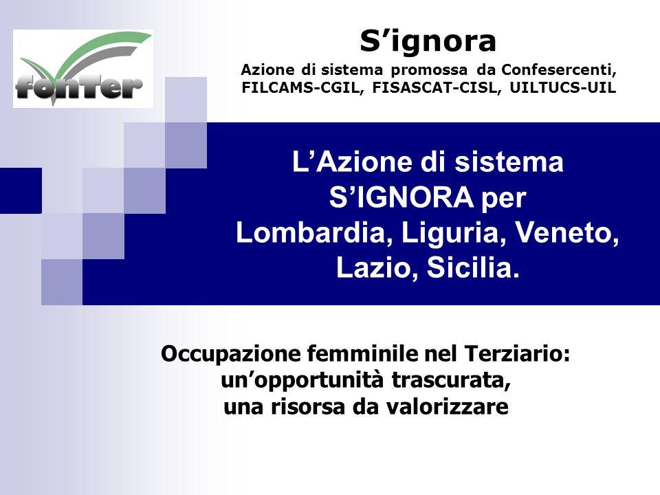 LAzione di sistema SIGNORA per Lombardia, Liguria, Veneto, Lazio, Sicilia. Signora Azione di sistema promossa da Confesercenti, FILCAMS-CGIL, FISASCAT