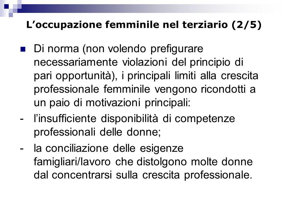Loccupazione femminile nel terziario (2/5) Di norma (non volendo prefigurare necessariamente violazioni del principio di pari opportunità), i principa
