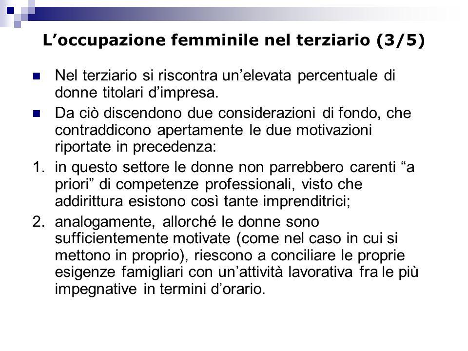 Loccupazione femminile nel terziario (3/5) Nel terziario si riscontra unelevata percentuale di donne titolari dimpresa. Da ciò discendono due consider