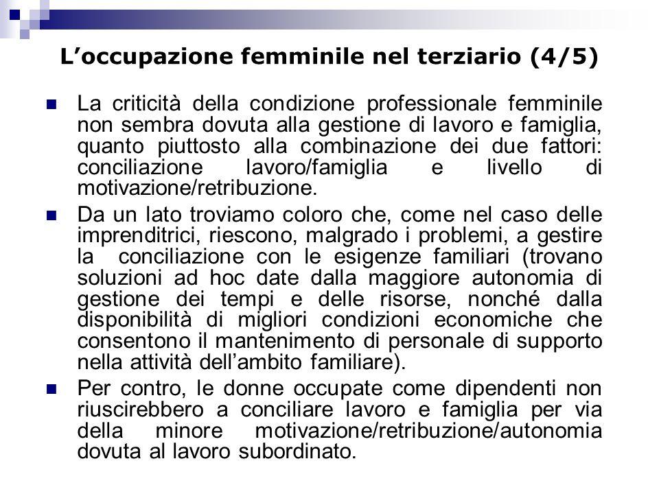 Loccupazione femminile nel terziario (4/5) La criticità della condizione professionale femminile non sembra dovuta alla gestione di lavoro e famiglia,