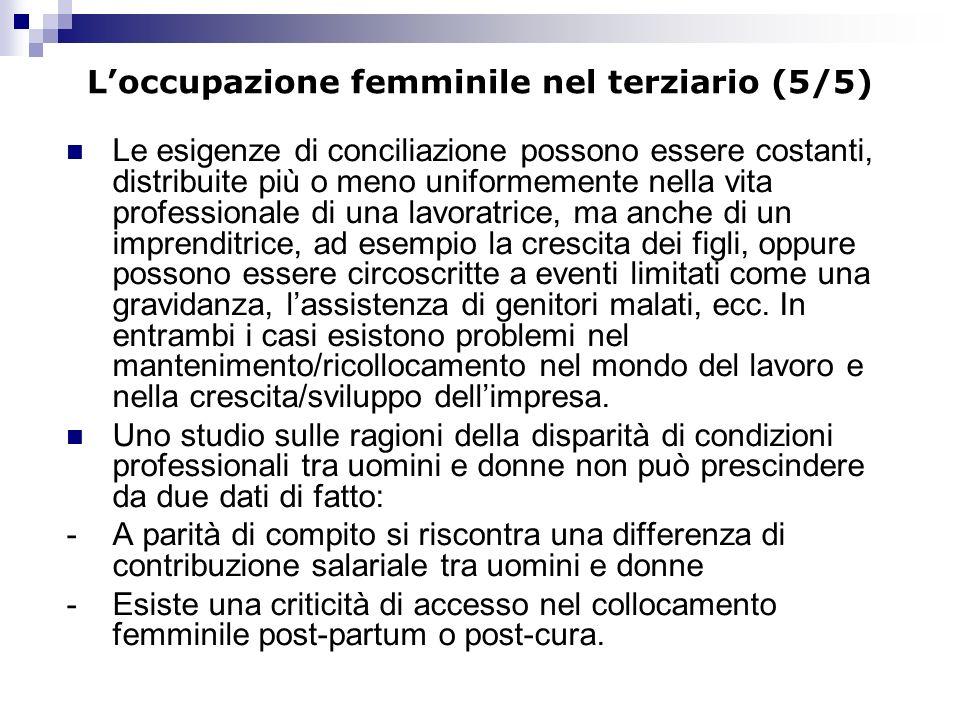 Loccupazione femminile nel terziario (5/5) Le esigenze di conciliazione possono essere costanti, distribuite più o meno uniformemente nella vita profe