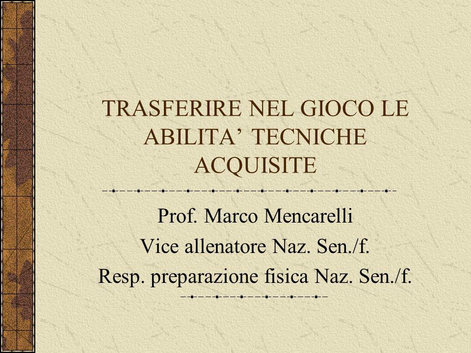 TRASFERIRE NEL GIOCO LE ABILITA TECNICHE ACQUISITE Prof.
