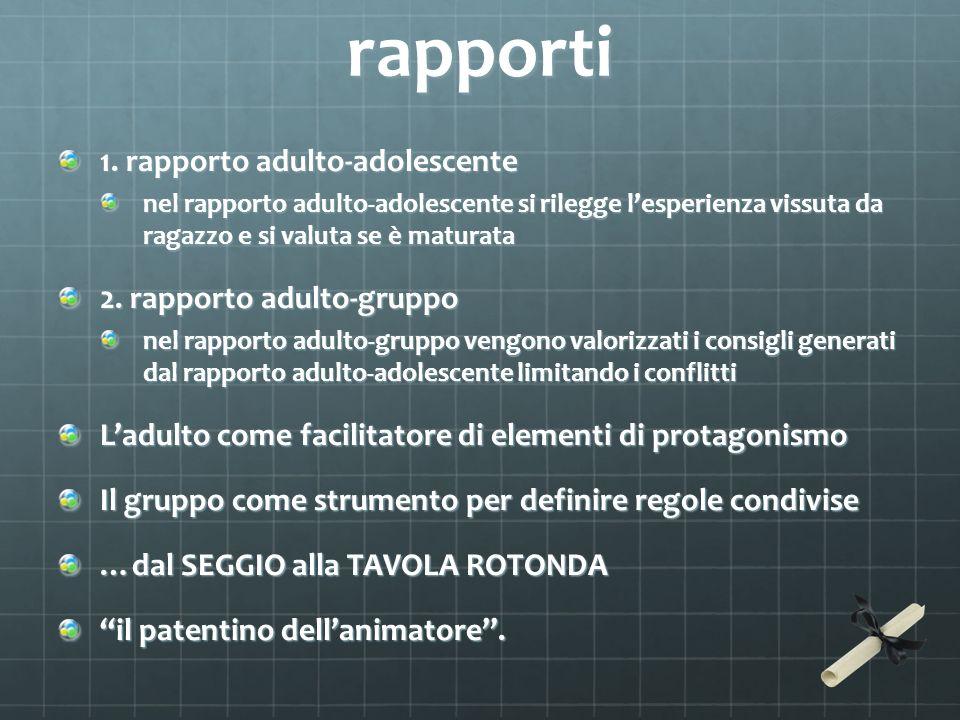 rapporti 1. rapporto adulto-adolescente nel rapporto adulto-adolescente si rilegge lesperienza vissuta da ragazzo e si valuta se è maturata 2. rapport