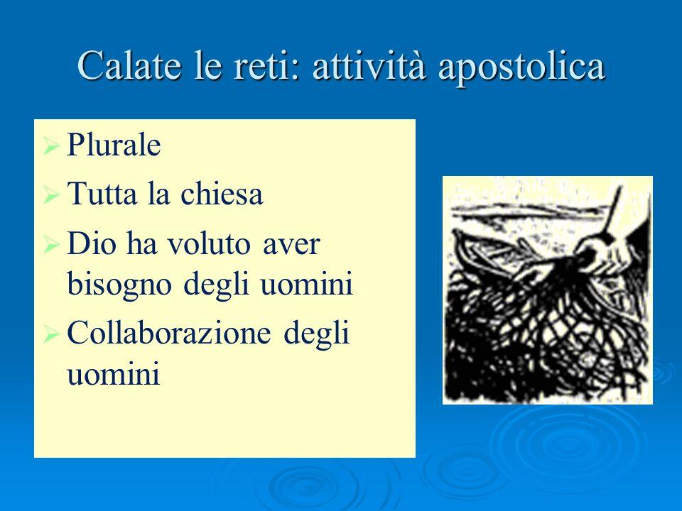 Calate le reti: attività apostolica Plurale Tutta la chiesa Dio ha voluto aver bisogno degli uomini Collaborazione degli uomini