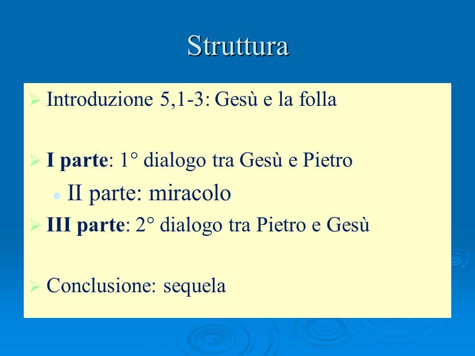 Struttura Introduzione 5,1-3: Gesù e la folla I parte: 1° dialogo tra Gesù e Pietro II parte: miracolo III parte: 2° dialogo tra Pietro e Gesù Conclus