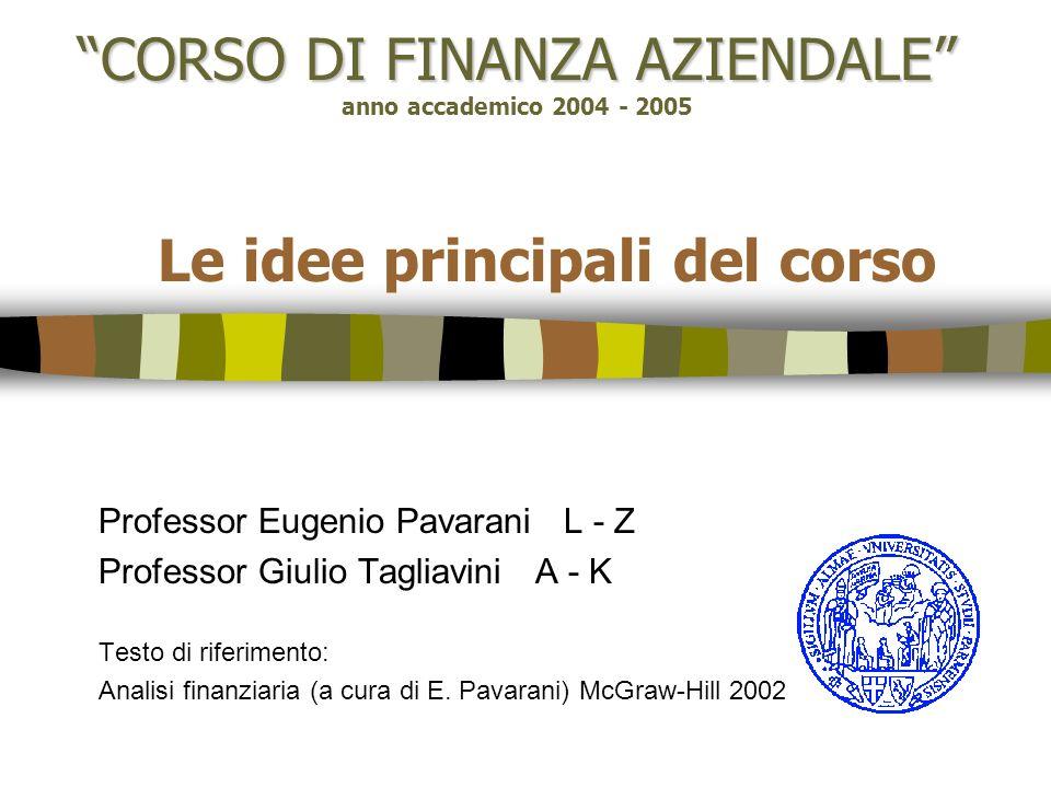 CORSO DI FINANZA AZIENDALE CORSO DI FINANZA AZIENDALE anno accademico 2004 - 2005 Le idee principali del corso Professor Eugenio Pavarani L - Z Profes