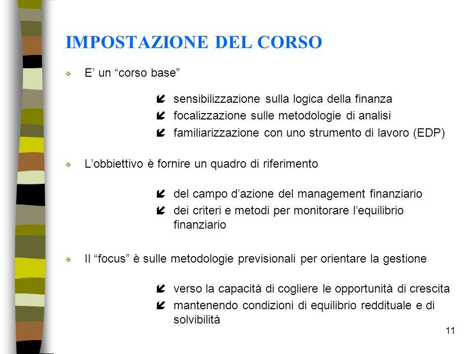 11 IMPOSTAZIONE DEL CORSO X E un corso base ísensibilizzazione sulla logica della finanza ífocalizzazione sulle metodologie di analisi ífamiliarizzazi