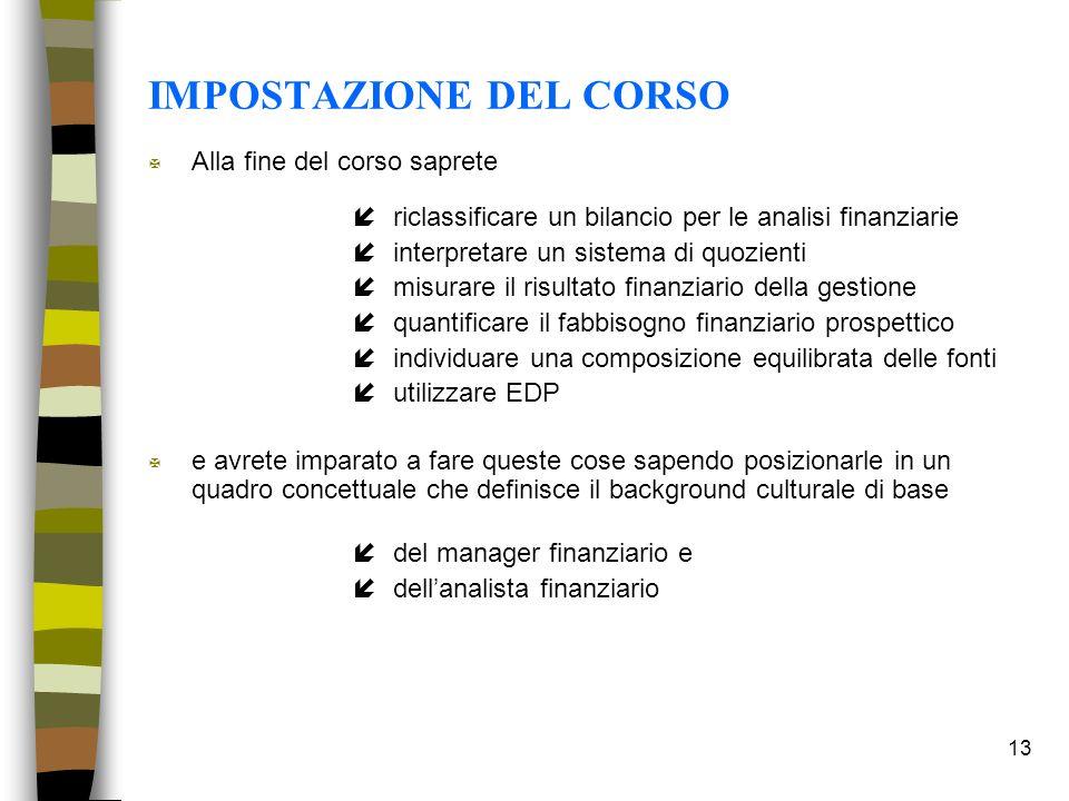 13 IMPOSTAZIONE DEL CORSO X Alla fine del corso saprete íriclassificare un bilancio per le analisi finanziarie íinterpretare un sistema di quozienti í