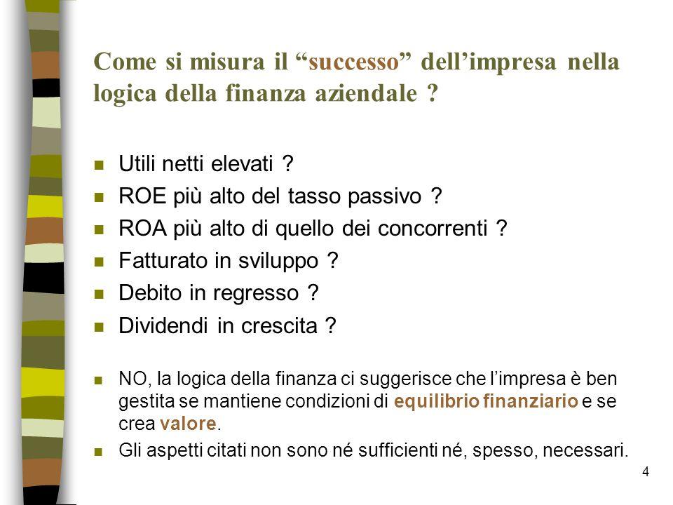 4 Come si misura il successo dellimpresa nella logica della finanza aziendale ? n Utili netti elevati ? n ROE più alto del tasso passivo ? n ROA più a