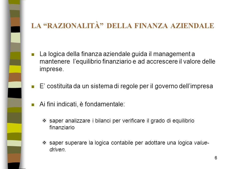 6 LA RAZIONALITÀ DELLA FINANZA AZIENDALE n La logica della finanza aziendale guida il management a mantenere lequilibrio finanziario e ad accrescere i